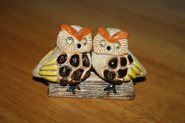 Owls on Log Figurine Two Owls on a Log with Googly Eyes Ceramic Figurine - $7.99