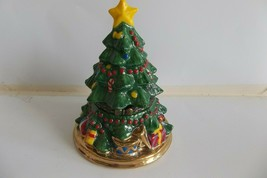Christmas Tree Trinket Jewelry Box Dept. 56 Hinged Porcelain Keepsake - $9.99