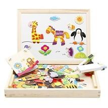Wooden Magnetic Puzzle Kids Educational Toy Whiteboard Chalkboard Marker Chalks - $23.61