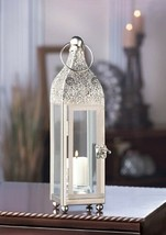 Candle Lantern Silver w/ Clear Glass Highly Polished Ornate Carved  - $22.72
