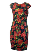 alexia admor Red Rose Scuba Short Sleeve Sheath Dress Size S - $59.39