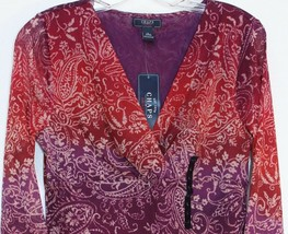 Chaps by Ralph Lauren V Neck Purple Empire Scroll Mesh Blouse Top Misses... - $29.98