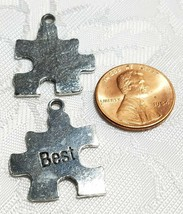 BEST PUZZLE PIECE FINE PEWTER PENDANT CHARM ANTIQUE SILVER FINISH image 2