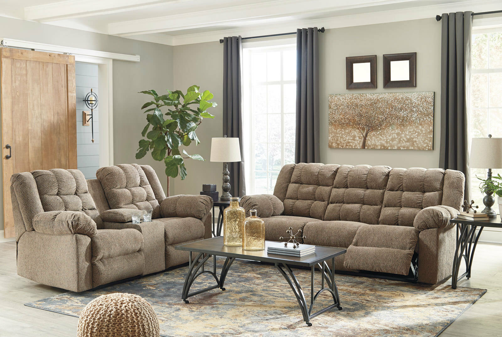New miller living room furniture brown fabric reclining - Fabric reclining living room sets ...