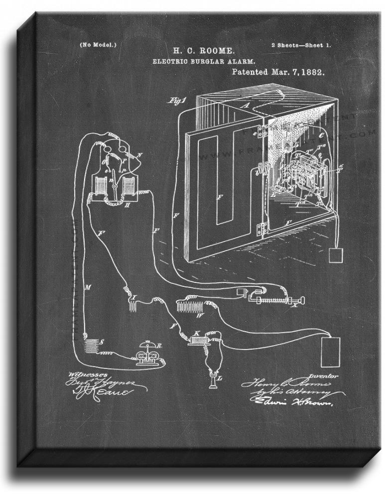 Primary image for Electric Burglar Alarm Patent Print Chalkboard on Canvas