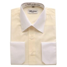 BERLIONI ITALY MEN'S PREMIUM WHITE COLLAR & CUFFS TWO TONE DRESS SHIRT OFF WHITE