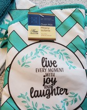 Kitchen Set 11pc Towels Dishcloths Mitts Placemats, Live Joy Laughter, Turquoise image 8