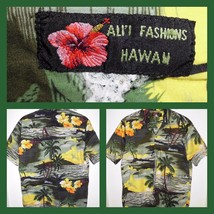 ALI'I FASHIONS Hawaii Made Aloha Sunset Floral Palm Button Front Shirt M... - $10.88