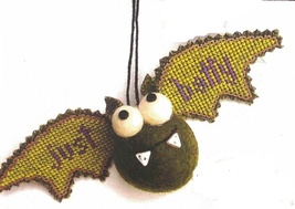Green Bat Kit Crazy halloween ornament cross stitch kit  Val's Stuff    - $16.20