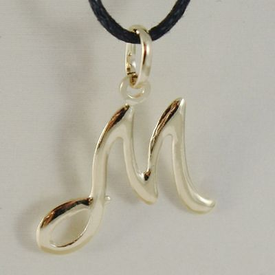 PENDANT YELLOW GOLD 18K WITH INITIAL M LETTER M LUCIDA 2,5 CM WITH CORD