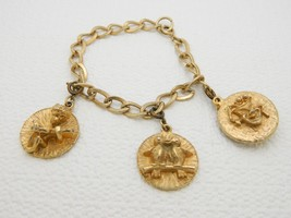 "VTG Gold Tone Love Birds Cupid Comedy Tragedy Mask Charm Bracelet - 7"" - $29.70"