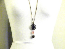 33 inch brass tone Vintage Necklace with Dark Rootbeer Colored Cabochon ... - $14.09
