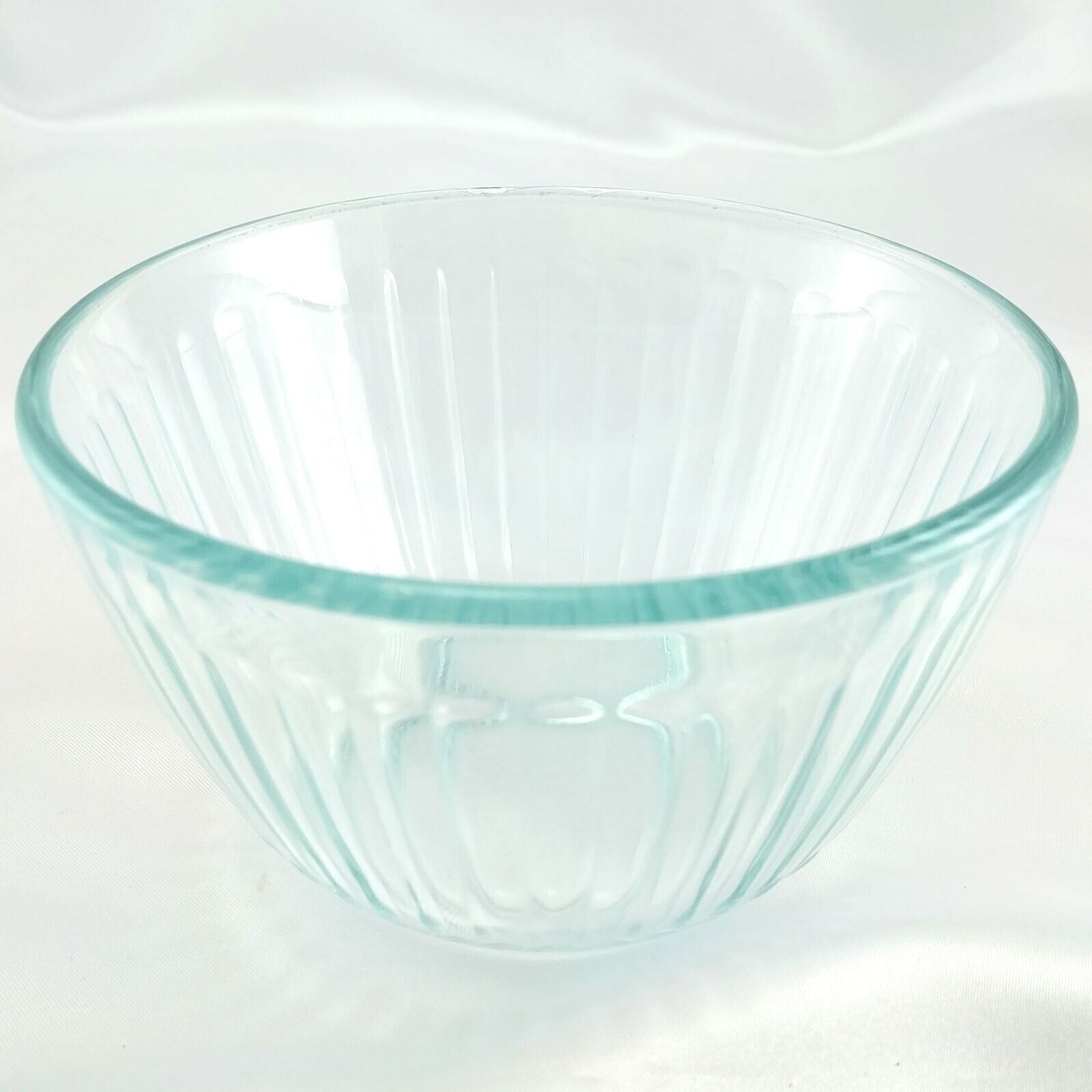 Pyrex 7401-S Ribbed Side Vintage Blue Glass Serving Bowl 3 Cup ~ CHIPPED RIM image 2