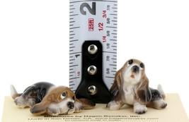 Hagen Renaker Dog Basset Hound Pup Sitting and Pup Lying Ceramic Figurine Set image 2