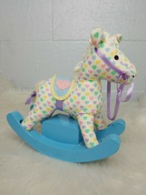 Vintage San Francisco Music Box Company Self Rocking Horse Blue Pink Hearts - $23.76