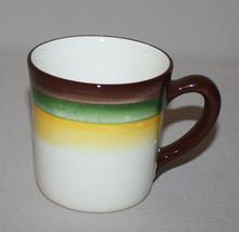 Mug Mojave Vernon Kilns California Pottery Brown Green Yellow Bands - $12.82