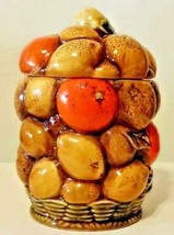 Vintage Inarco Japan Orange Spice Fruit Basket Cookie Jar Canister  - $24.75