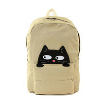 "Peeking Black Cat Khaki Canvas Backpack 12"" x 6""x17"" Lined Zips Closed 5... - $34.95"