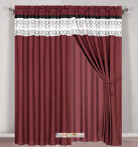 4-Pc Circle Embroidery Striped Curtain Set Burgundy Black Beige Valance ... - $40.89