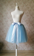 Light Blue Tulle Midi Skirt Ballerina Tulle Skirt Knee Length image 1
