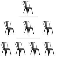 MATTE BLACK TOLIX STYLE METAL STACK INDUSTRIAL CHIC DINING CHAIR 1, 3 OR... - $54.99+