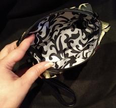 Clutch Bag/Wristlet/Makeup Bag - Red Rose Applique on Black & Gold Brocade image 3