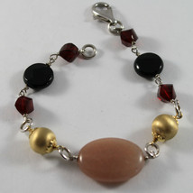 .925 RHODIUM SILVER BRACELET WITH PINK JADE, RED CRISTAL, AND BLACK ONYX image 1