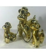 Gold Ceramic Poodle Mom & Kids Family Puppies Dogs O.L. Made in Japan Vi... - $29.69