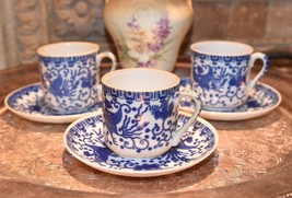 SET 3PC SET VINTAGE JAPAN PHOENIX BLUE WHITE SMALLER DEMI TEA CUPS & SAU... - $37.99
