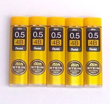 Pentel Ain Pencil Leads 0.5mm 4B, 40 Leads X 5 Pack/total 200 Leads Japa... - $9.78
