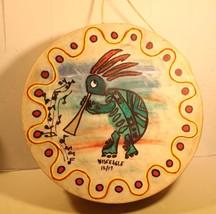 Hand Painted 12 inch Drum Kokopeli Turtle by Pee Dee Indian Artist WiseE... - $44.49