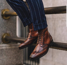 New Bespoke Men Brown Ankle High Lace up Bespoke Leather Boots - $159.97+