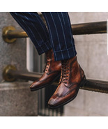 New Bespoke Men Brown Ankle High Lace up Bespoke Leather Boots - $209.98 CAD+