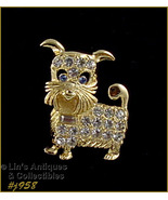 Eisenberg Ice Gold-Tone with Clear Rhinestones Doggie Pin (Inventory #J958) - $48.00
