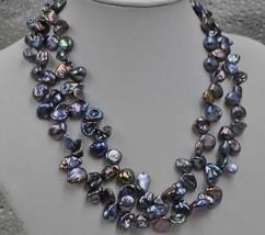 "16"" choker Baroque black freshwater keshi rare pearl necklace - $15.88"