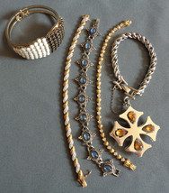 Lot! 5 Vintage Metal Bracelets PD Barclay Black & White Cabochon Clamper... - $24.99