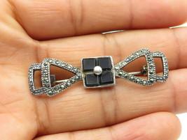 925 Sterling Silver - Vintage Black Onyx & Marcasite Open Brooch Pin - B... - $27.97