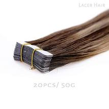 Lacerhair Tape in Balayage Natural Hair Extensions Straight Chocolate Brown to S image 4