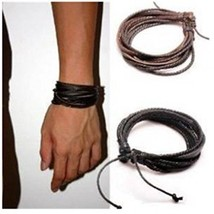Coolla Adjustable Black And Brown Leather Wristband And Rope Cuff Bracelet, - $20.88