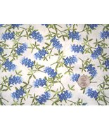 Texas Blue Bonnets on Cream Cotton Fabric Quilting Crafting  - $8.99