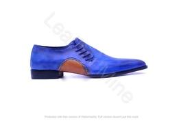 Handmade Men's Blue Patina Leather Oxfords Dress Shoes, Formal Shoes Men  - $169.99+