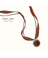 Button Drop Necklace: burgundy vintage button & silk ribbon, grey suede ... - $14.00