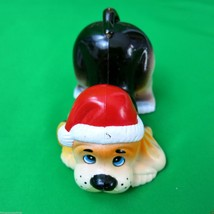 Vintage Christmas Dog Figure Plastic Made in Hong Kong 1984 Giftco - $8.88