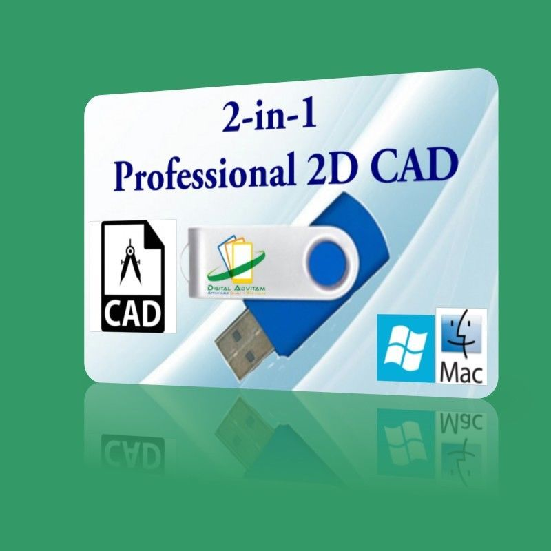 2-in-1 Professional CAD Software open AUTOCAD DXF 2D CAD Drawing WINDOWS Mac USB, used for sale  USA