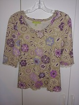 SIGRID OLSEN LADIES SS SEMI-SHEER/LINED TOP-PL-100% NYLON KNIT PULLOVER-... - $9.99