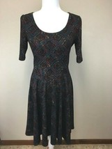 Lularoe M Medium Teal Rust Burgundy Diamond Textured Nicole Dress - $27.99