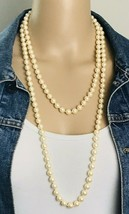 "Vintage Signed Monet 8mm Pearl Hand Knotted Necklace 54"" - $35.64"