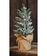 """Skinny Snow Tree Pine Needle Burlap Base 12"""" Tabletop Christmas Tree Decor  - $34.00"""