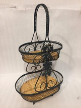 Decorative 2 Tiered Metal and Rattan Serving Tray Dark Green Gold 17 in ... - $17.30
