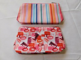 Clinique travel cosmetic bag Lot of 2 bags 1 striped 1 lipstick zip closure - $13.29
